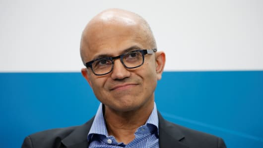 Microsoft CEO Satya Nadella and Volkswagen CEO Herbert Diess (not pictured) attend a session during their visit to Volkswagen Digital Lab in Berlin on Feb. 27, 2019.