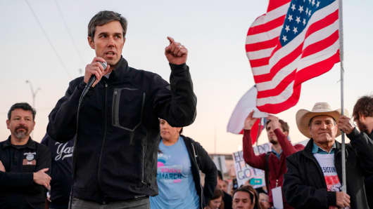 Former Texas Congressman Beto O'Rourke speaks to a crowd of marchers during the anti-Trump 'March for Truth' in El Paso, Texas, on February 11, 2019.