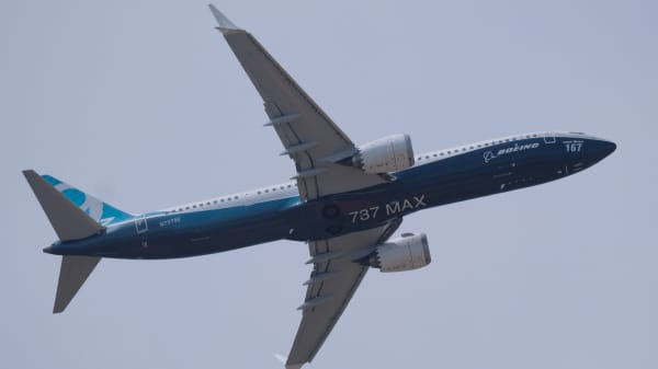 Boeing 737 MAX9 takes part in a flying display over the Le Bourget Airport during the 52nd International Paris Air Show on June 22, 2017, in Paris, France.