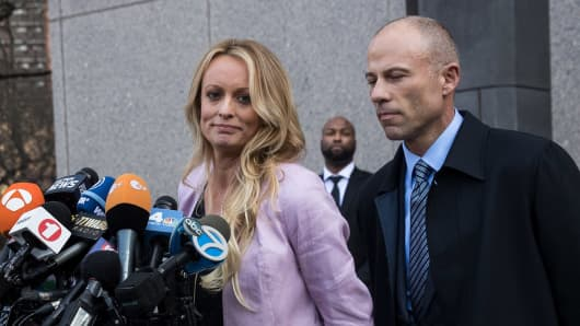 Adult film actress Stormy Daniels (Stephanie Clifford) and Michael Avenatti, attorney for Stormy Daniels, speak to the media after a hearing related to Michael Cohen.