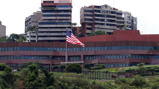 A view of the U.S. Embassy in Caracas, Venezuela on January 27, 2019.