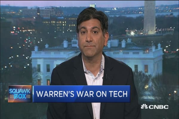 Watch two experts weigh in on Elizabeth Warren's proposal to break up the big tech companies