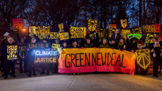 More than 100 New Yorkers gathered in Brooklyn on February 26, 2019, to support the Green New Deal resolution.