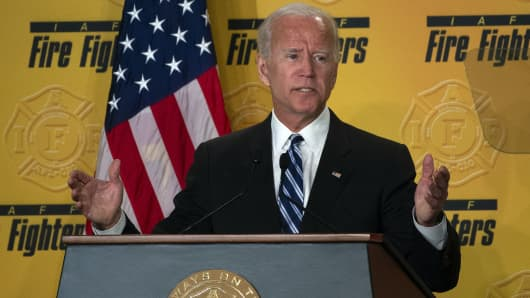 Former US Vice President Joe Biden speaks at the International Association of Fire Fighters conference in Washington, DC on March 12, 2019.