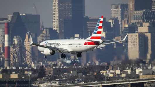 An American Airlines Boeing 737 Max 8, on a flight from Miami to New York City, lands at LaGuardia Airport on Monday morning, March 11, 2019 in the Queens borough of New York City.