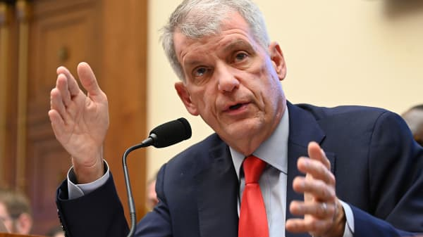 """Wells Fargo CEO Tim Sloan testifies before a House Financial Services Committee hearing titled: """"Holding Megabanks Accountable: An Examination of Wells Fargo's Pattern of Consumer Abuses"""" in Washington, March 12, 2019."""