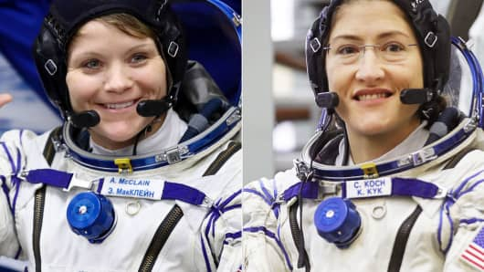 Astronaut Anne McClain, left, and Astronaut Christina H. Koch
