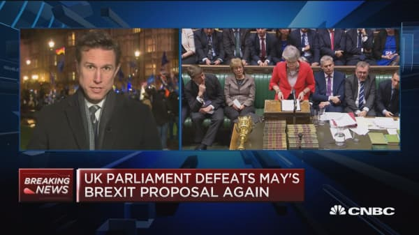 UK parliament defeats May's Brexit proposal again