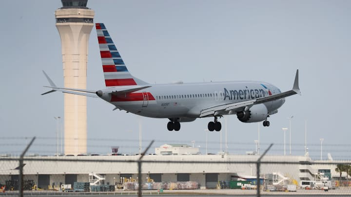 An American Airlines Boeing 737 Max 8 prepares to land at the Miami International Airport on March 12, 2019 in Miami, Florida.