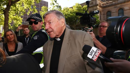 Cardinal George Pell arrives at Melbourne County Court on February 27, 2019 in Melbourne, Australia.