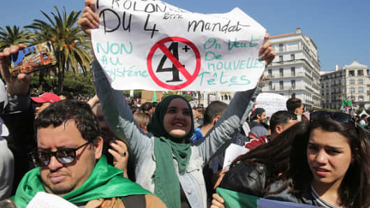 Algerian students demonstrate one day after President Abdelaziz Bouteflika announced his withdrawal from the presidential race as well as the postponement of April 2019 presidential election, following weeks of protests against his candidacy for a fifth term in office. The protesters considered the decision as an attempt by Bouteflika to prolong his current term.