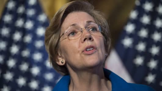 Sen. Elizabeth Warren, D-Mass., speaks during the press conference on the Fair Shot Agenda to lower interest rates on student loan debt on Wednesday, May 14, 2014.