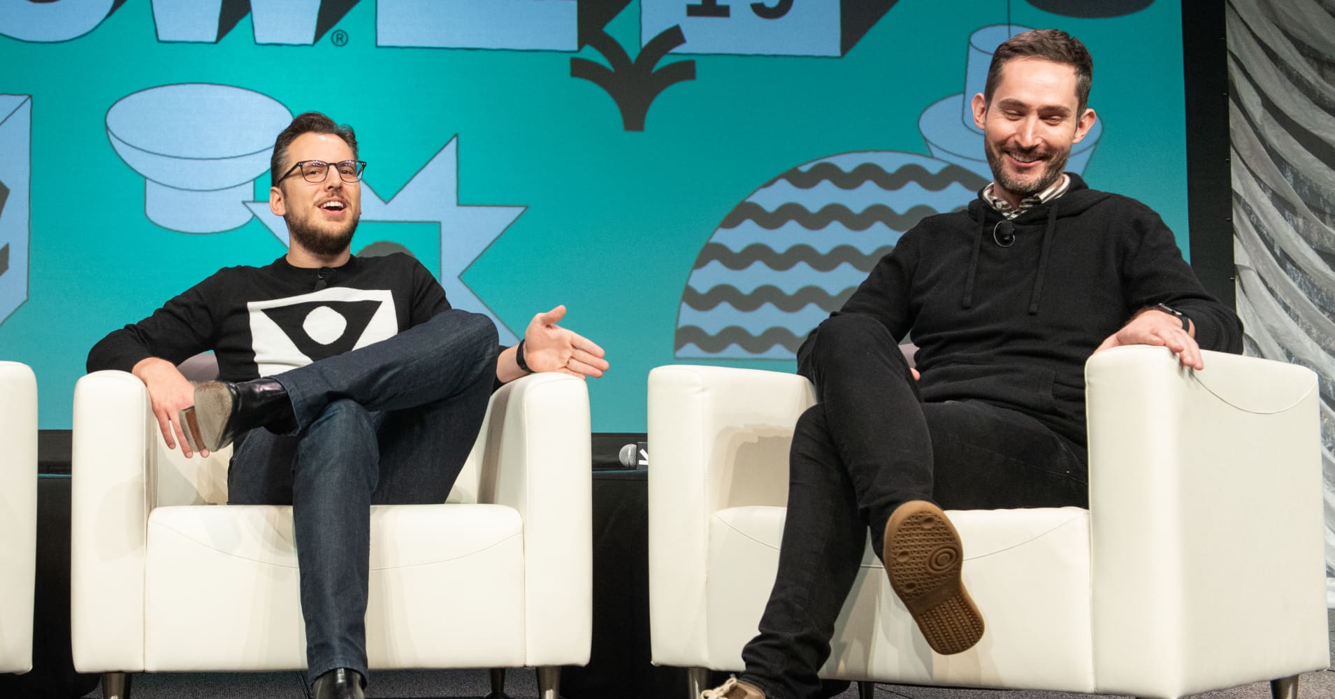 Instagram co-founders Mike Krieger (L) and Kevin Systrom at the 2019 SXSW Conference and Festival at the Austin Convention Center on March 11, 2019 in Austin, Texas.