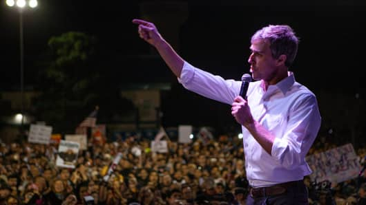 Former candidate for U.S. Senate Beto O'Rourke speaks to thousands of people gathered to protest a U.S./Mexico border wall being pushed by President Donald Trump February 11, 2019 in El Paso, Texas.