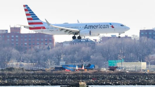 An American Airlines Boeing 737 Max 8, making a Miami-New York flight, landed at New York's LaGuardia Airport on March 12, 2019.