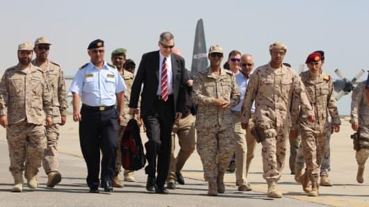 US Ambassador to Yemen Matthew H Tueller (5th-L) arrives at Mukalla airport, southwestern Yemen, on November 29, 2018.