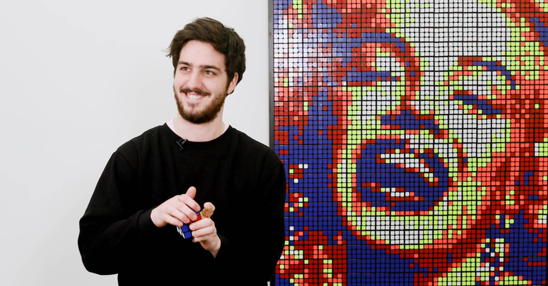 This 24-year-old makes celeb portraits from Rubik's Cubes and sells them for thousands of dollars