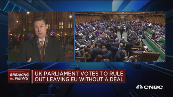 UK parliament votes to rule out leaving EU without a deal
