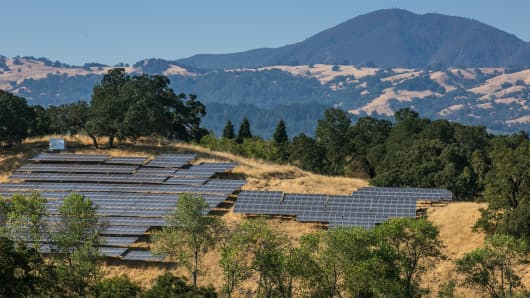 A hillside solar panel array at Jordan Vineyard & Winery near Healdsburg, California.