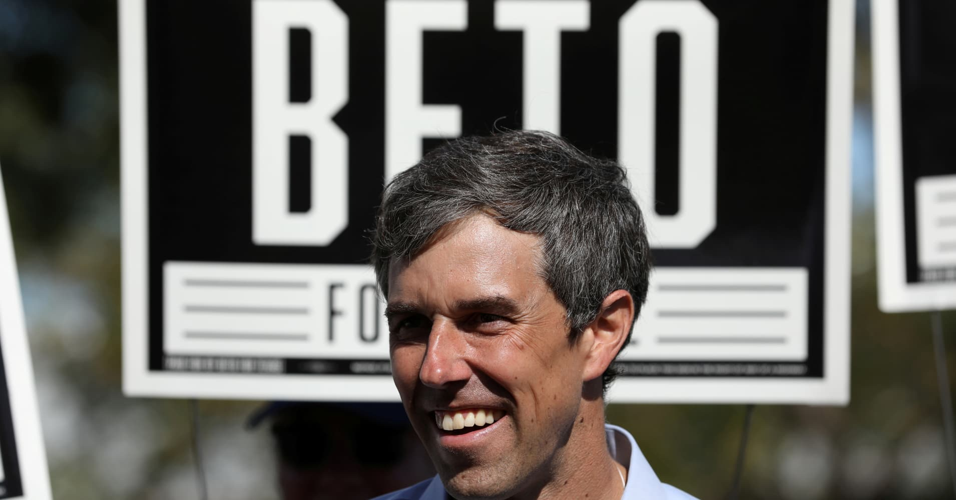 Beto O'Rourke (D-TX), greets supporters at a campaign rally in Plano, Texas, U.S., November 2, 2018.