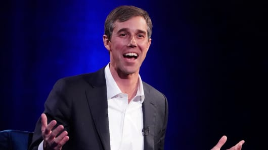Beto O'Rourke speaks to Oprah Winfrey during a taping of her TV show in the Manhattan borough of New York City, New York, U.S., Feb. 5, 2019.