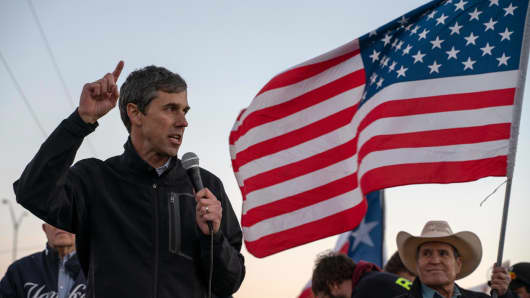 Former Texas Congressman Beto O'Rourke speaks to a crowd of marchers during in El Paso, Texas, on February 11, 2019.