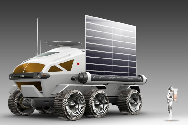 A concept image of the planned Toyota lunar rover with deployed solar panels.