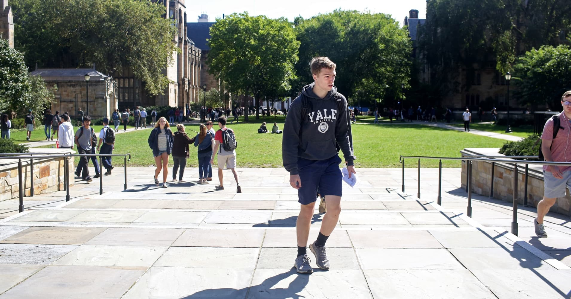 Students on campus of Yale University