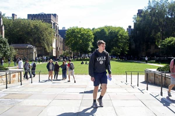 Students on campus of Yale University