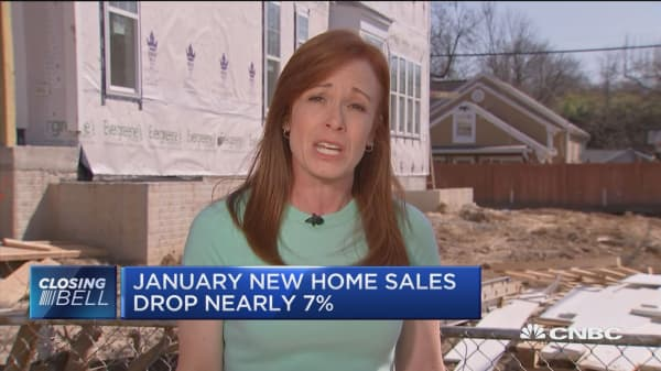 January new home sales drop nearly 7%