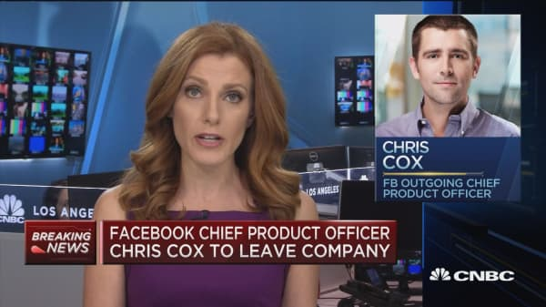 Facebook's Chief Product Officer Chris Cox to leave company