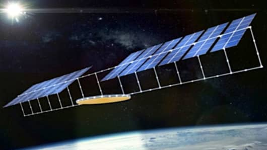 A slide from a presentation Chinese scientists made in South Korea showing an early design idea for a solar power project in space that could beam energy back to the Earth.