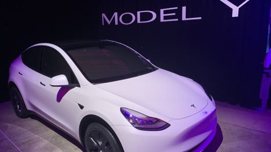 The new Tesla Model Y is introduced. Tesla has expanded its model range to include an SUV based on the current Model 3.