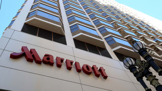 SAN FRANCISCO, CA - NOVEMBER 16:  A sign is posted in front of a Marriott hotel on November 16, 2015 in San Francisco, California. Marriott International announced plans to purchase Starwood Hotels & Resorts for $12.2 billion. The deal would create the world's largest hotel company.  (Photo by Justin Sullivan/Getty Images)