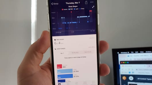 Fitbit sleep tracking.