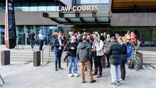 General view of media in front of the Christchurch District Court where the suspected shooter Brenton Tarrant appeared on March 16, 2019 in Christchurch, New Zealand.