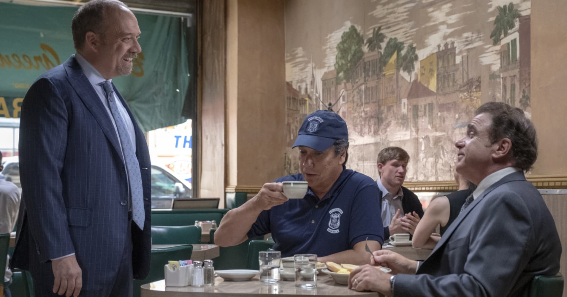 "Chuck Rhoades at Barney Greengrass on episode 401 of ""Billions"""