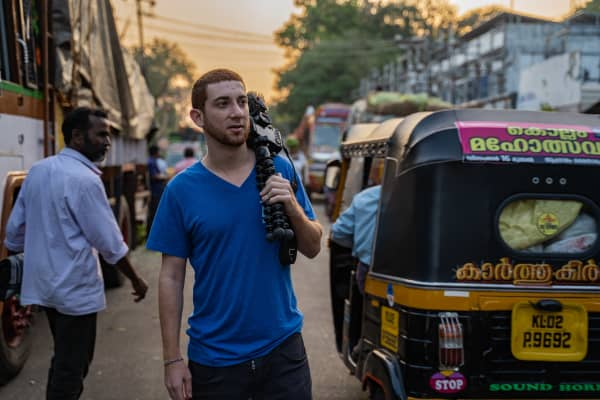 Drew Binsky, a travel video maker, in Kerela, India.