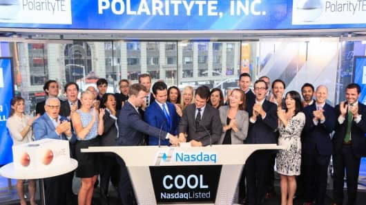 PolarityTE rings the closing bell at the Nasdaq on Aug. 14th, 2017.