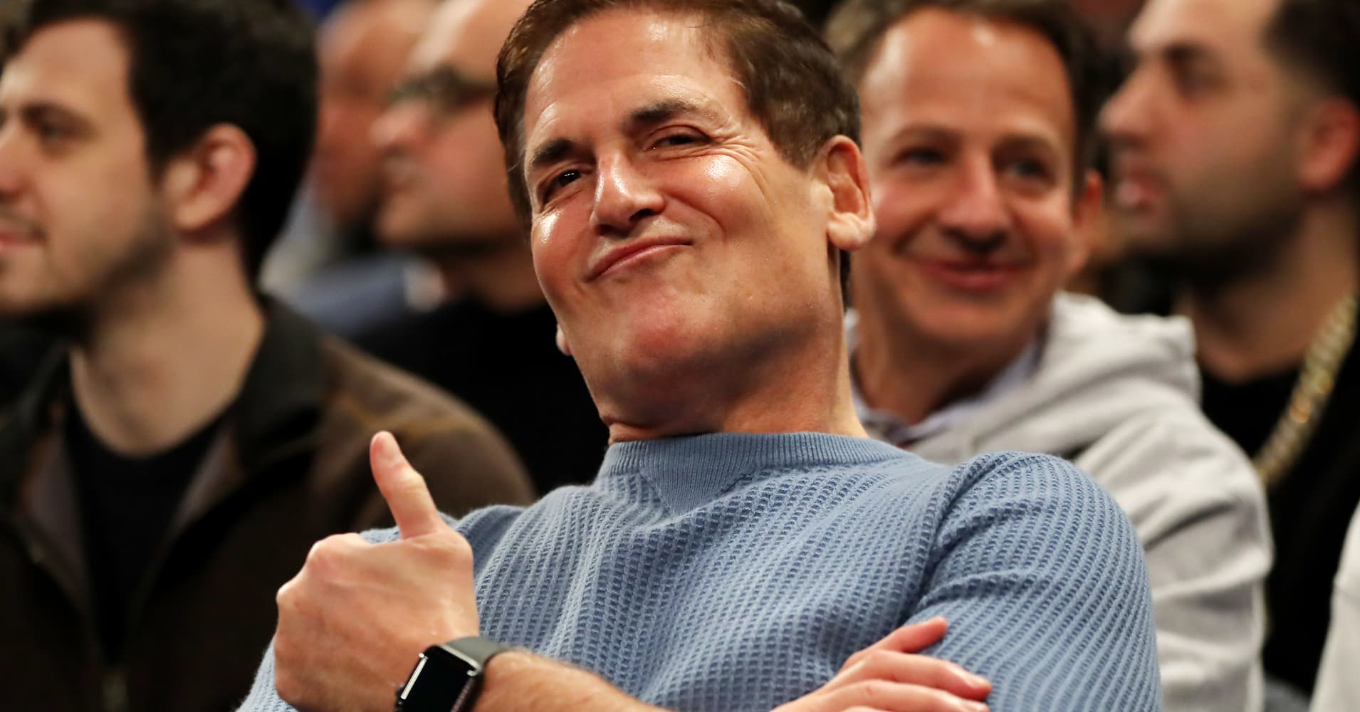 Dallas Mavericks Mark Cuban smiles during the game between the New York Knicks and the Dallas Mavericks at Madison Square Garden on January 30, 2019 in New York City.