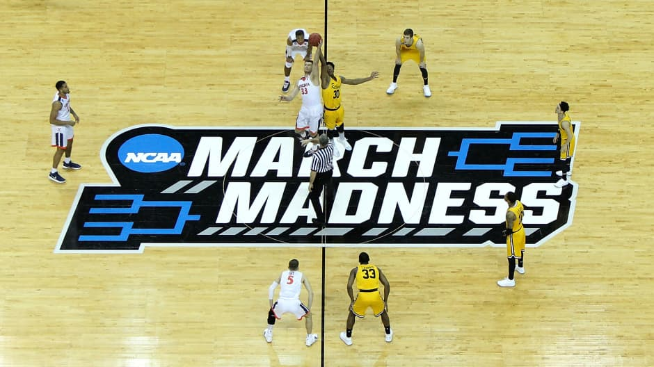 The Virginia Cavaliers tip off against the UMBC Retrievers in the first round of the 2018 NCAA Men's Basketball Tournament at Spectrum Center on March 16, 2018 in Charlotte, North Carolina.