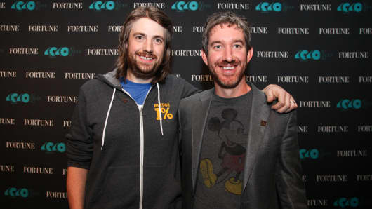 Mike Cannon-Brookes, left, and Scott Farquhar, co-founders and co-CEOs of Atlassian and 2016 honorees on Fortune's 40 Under 40 list, pose for a photo in San Francisco on Oct. 13, 2016.
