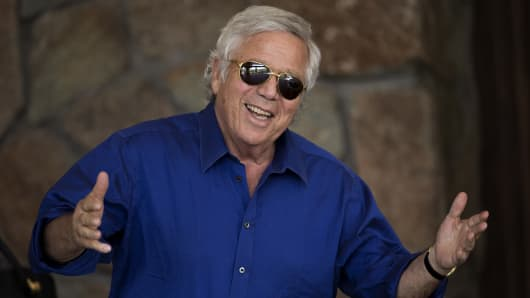 Robert Kraft, chief executive officer of the Kraft Group and owner of the New England Patriots football team, attends the annual Allen & Company Sun Valley Conference, July 5, 2016 in Sun Valley, Idaho.