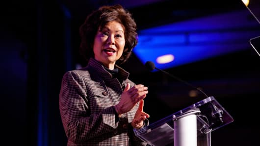 Elaine Chao, U.S. secretary of transportation, delivers the keynote speech during the U.S. Chamber of Commerce Aviation Summit in Washington, D.C., March 7, 2019.