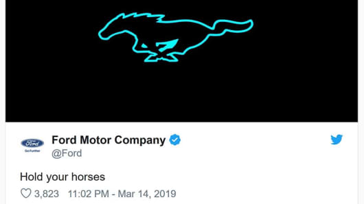 Ford tweets out an electrified look at its famed Mustang logo on March 14, 2019 while Tesla was hosting its Model Y launch.