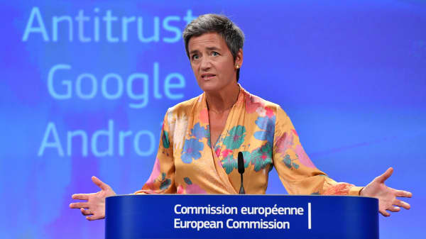 European Union Competition Commissioner Margrethe Vestager gives a joint press at the EU headquarters in Brussels on July 18, 2018. -