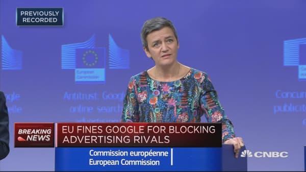 EU fines Google $1.7 billion for breaking antitrust rules