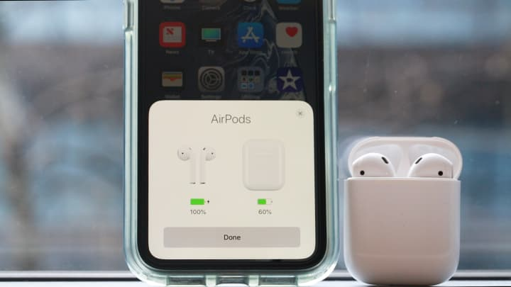 Apple shows you how much charge is left in the AirPods case.
