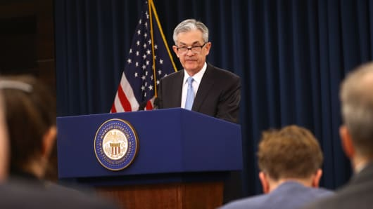Jerome Powell, chairman of the U.S. Federal Reserve, speaks during a news conference following a Federal Open Market Committee (FOMC) meeting in Washington, D.C., U.S., on Wednesday, March 20, 2019.