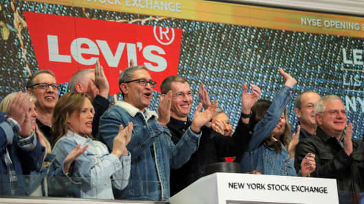 Levi Strauss & Co. CEO Chip Bergh rings the opening bell on New York Stock Exchange (NYSE) during the company's IPO in New York, U.S., March 21, 2019.